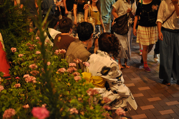 a couple wearing yukata at Azabu-Juban summer night festival