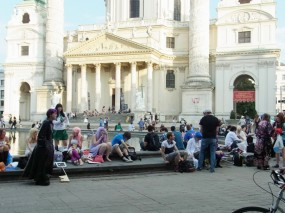Cosplayers in front of the St. Charles's Church